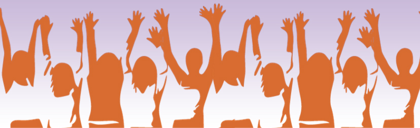 silhouettes of several women with both arms raised hand open