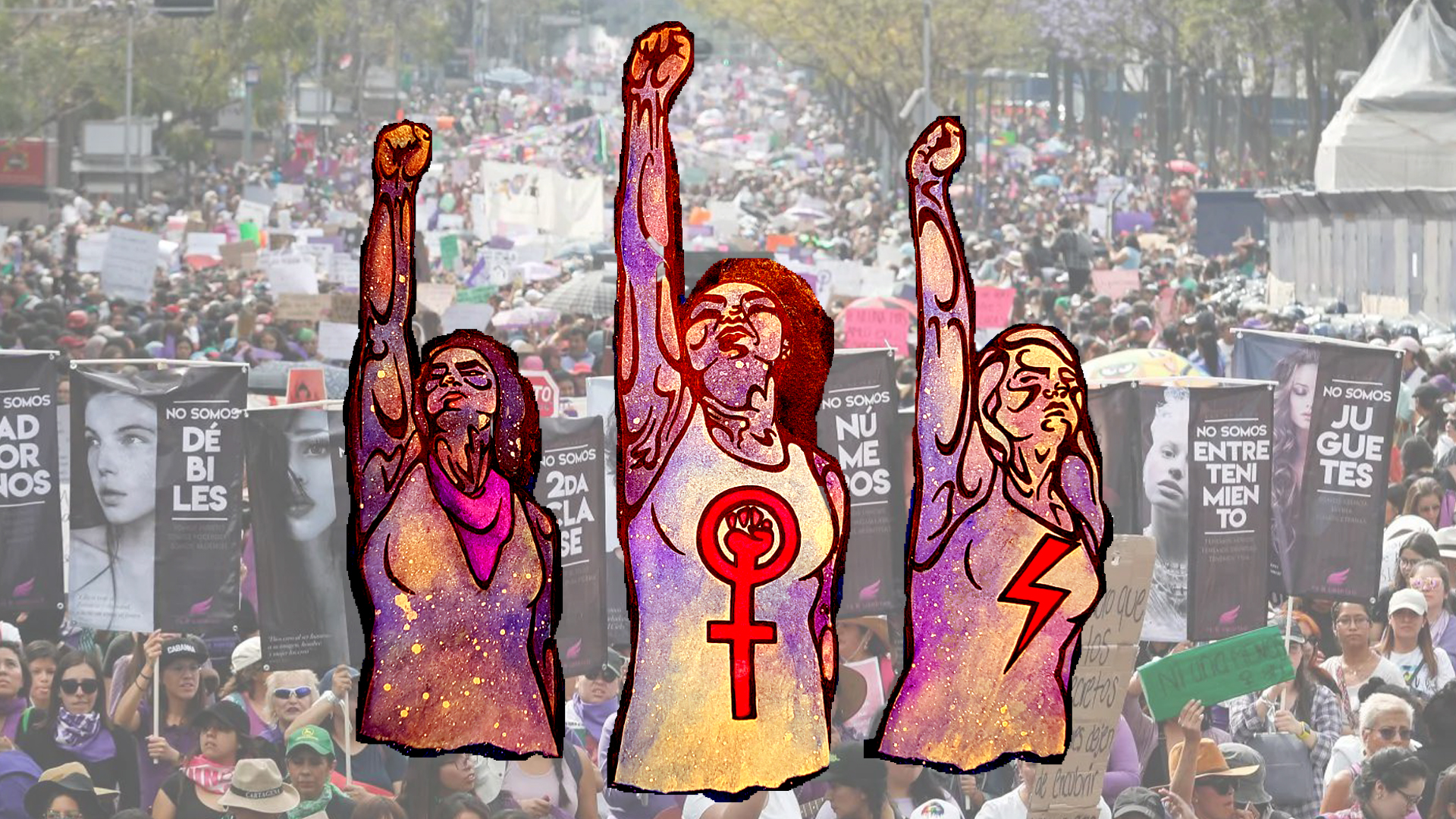artistic drawing of three women with fists raised overlaying photo of huge feminist rally
