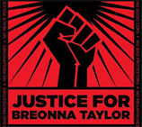 Justice for Breonna poster, red with a black fist